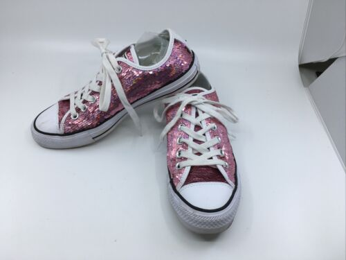 Converse Pink Sequin All Star Low Top Sneakers Wom