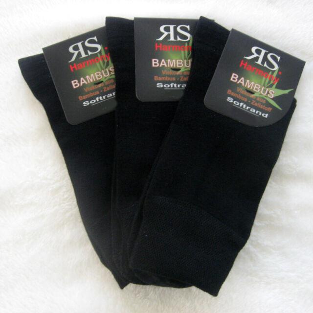 3 Paar Bambus Socken XXL ohne Gummi Gesundheitssocken schwarz 47 - 50