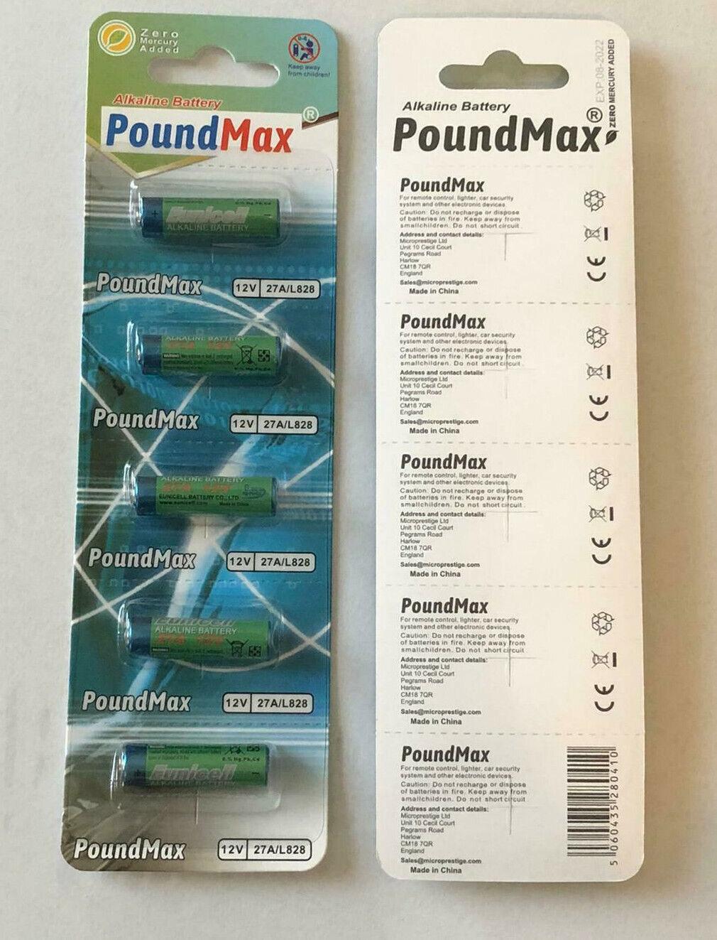 5 Pack x PoundMax Super Alkaline 27A 12v GP27A MN27 A27 Security Batteries