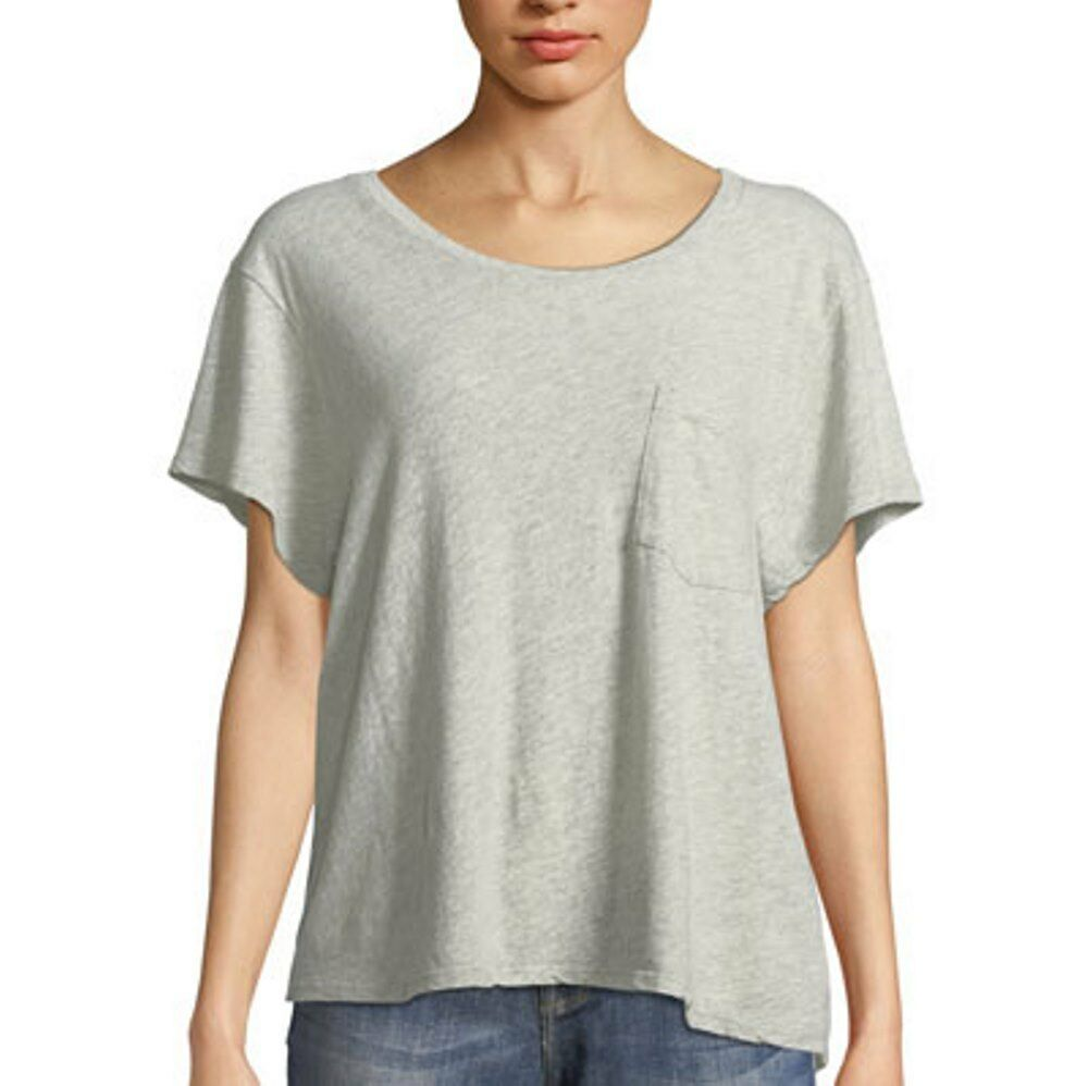 JAMES PERSE Cropped Boxy Tee WJLR3806CU Heather grau Shirt ( 3 ) FREE SHIPPING