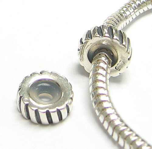 Sterling Silver Round Striped Stopper Bead w// Rubber for European Charm Bracelet