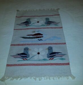Zapotec Vintage Mexican Hand Woven Bird Rug Wall Hanging
