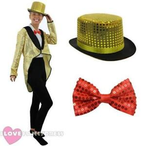 GOLD SEQUIN TAILCOAT TOP HAT AND RED BOW TIE HALLOWEEN FANCY DRESS ... a70b308aa456