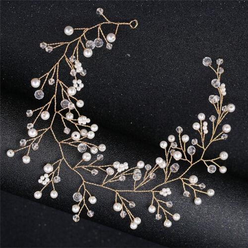 Fashion Crystal Headband tiara Bride Handmade Simulated Pearl Bride Wedding Pip