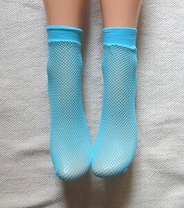 2-pairs-Neon-Blue-Fishnet-Ankle-Socks-Pop-socks-Rave-Festival-Geek-Chic-ANKLet