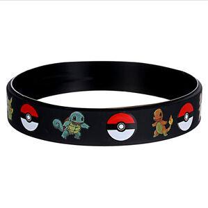 Kids-Children-Pokemon-Go-Pikach-Black-Wristband-Bracelet-Bangle-Toys-Gift