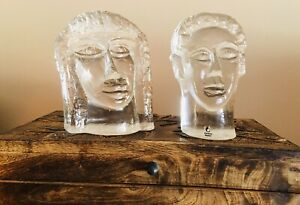 VINTAGE-Erik-Hoglund-signed-Pukeberg-Glassworks-Man-Woman-Sculptures-c-1980