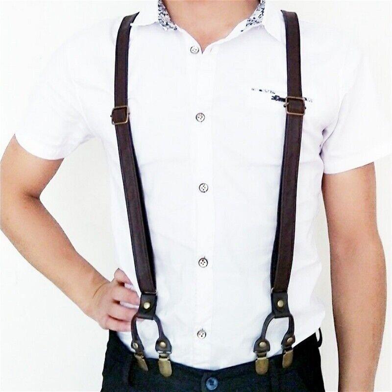 2CM Men Braces Y-Back Leather Trousers Suspenders Adjustable 6 Clip Brown Decor