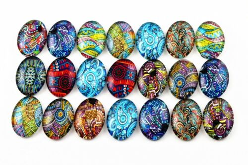 13x18mm Handmade Glass CabochonsColourful Paisley Designs20pcs