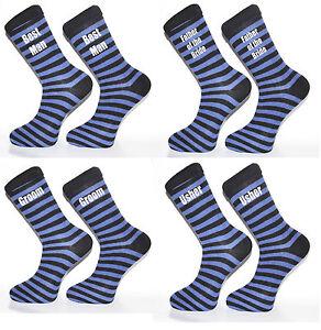 Dary Blue and Black Striped Luxury Cotton Rich Wedding Socks, Groom ...