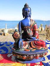 """UNIQUE HANDPAINTED 4+"""" Tibetan Buddhist BELOVED HEALING MEDICINE BUDDHA STATUE"""