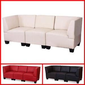Canape-3-places-lounge-salon-Lyon-modulable-simili-cuir-noir-creme-rouge