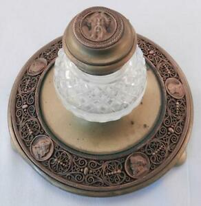 Fine-Antique-Elaborate-Bronze-amp-Brass-Inkwell-Classical-Portrait-Medallions-VGC