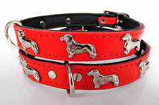 *DACKEL* Hundehalsband, LEDER, Halsumfang 28-31 cm, *ROT* NEU (21.3.3.48)