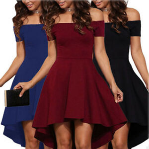 Women-Off-Shoulder-Casual-Evening-Party-Cocktail-A-Line-Short-Mini-Skater-Dress