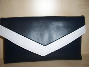 aea86fe003 Details about Navy blue and white faux leather envelope clutch bag, lined  BN, UK made.