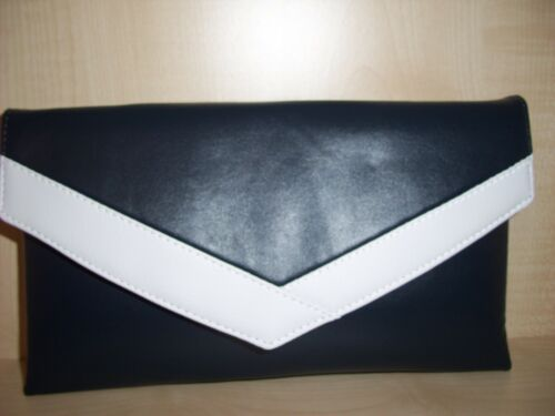 lined BN UK made. Navy blue and white faux leather envelope clutch bag