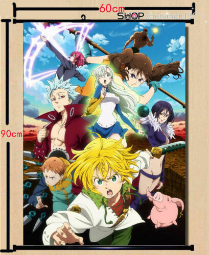 Anime The Seven Deadly Sins Meliodas Poster Wall Home Scroll Decor 60*90cm