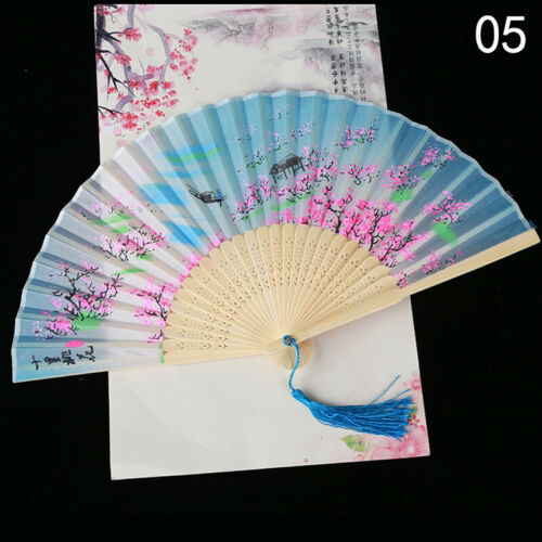 Vintage Chinese Silk Bamboo Folding Fan Hand Held Dancing Party Floral Gifts