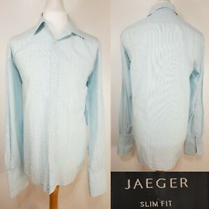 Jaeger-Blue-White-Stripe-Long-Sleeve-Shirt-Size-L-17-034-Collar-Work-Cufflinks