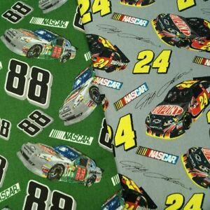 100-Cotton-Fabric-David-Textiles-Nascar-Drivers-Dale-Jr-And-Gordon-Toss-Car