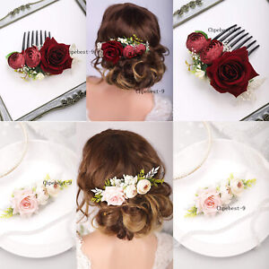 Florals-Rose-Hair-Combs-for-Brides-Wedding-Bridal-Vintage-Headband-Wreath-Crowns