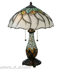 """Stained Glass Glass Table Lamp Flower Floral Tiffany Style Light 22.5""""H"""