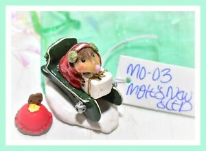 Wee-Forest-Folk-Mole-039-s-New-Sled-GREEN-MO-03-Christmas-Snow-Mole-RETIRED