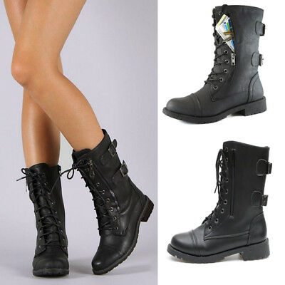 Womens Ladies Army Military Combat Biker Ankle Boots Lace Up Mid Calf Shoes Size