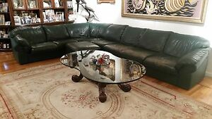 Details about Leather Sectional Sofa, Green