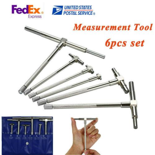 6PC Telescopic Gauge Set T-Bore Micrometer Measurement Range