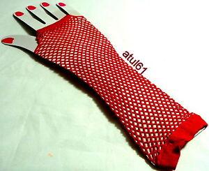Neon Hot Orange Long Fish Net Fingerless Gloves 80s Party Goth Hen Fancy Dress