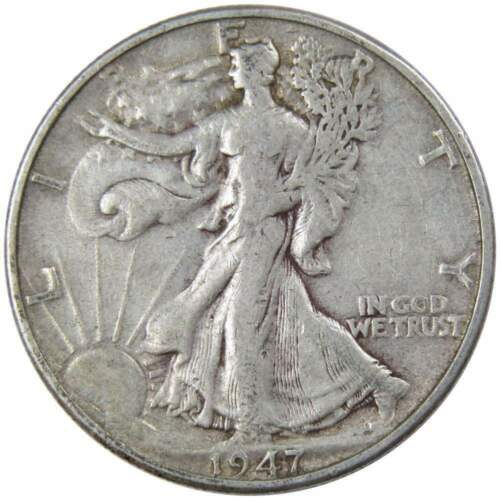 1947-D 50c Liberty Walking Silver Half Dollar F Fine