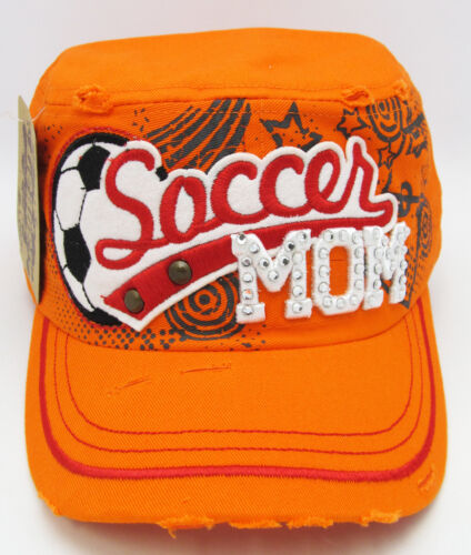 Womens Military Cadet Cap Hat Rhinestone Soccer Mom Distressed Hats Orange NWT