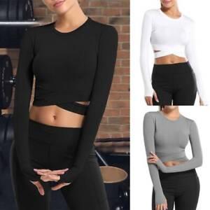 Womens Yoga Crop Top Long Sleeve Workout Shirt  Running Fitness Gym Sportswear