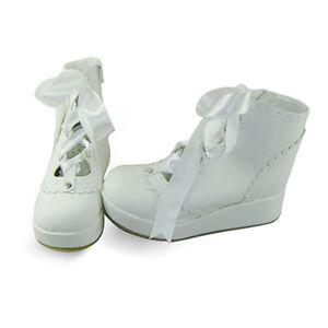 Weiss Lolita Shoes Damen Schuhe White Keilabsatz Wedges Sneaker