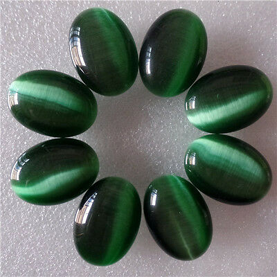 8PCS 25x18mm Charming Dark Green Cat Eye Oval Cab Cabochon AMY34RL