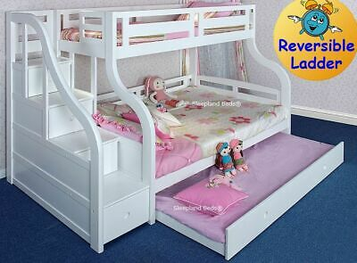 Pine Or White Triple Bunk Beds Stairs And Trundle Bed Double Luxury Bunks Ebay