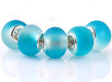 5pcs SILVER MURANO Sky Blue jelly spacer beads fit European Charm Bracelet #F936