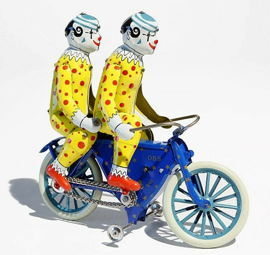 2 Clowns Bicycle Duett Dbs Tin Toy - Made in Germany Nostalgia Retro