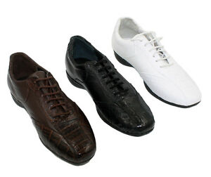 Men-039-s-Genuine-Leather-Crocodile-Coco-Print-Shoes