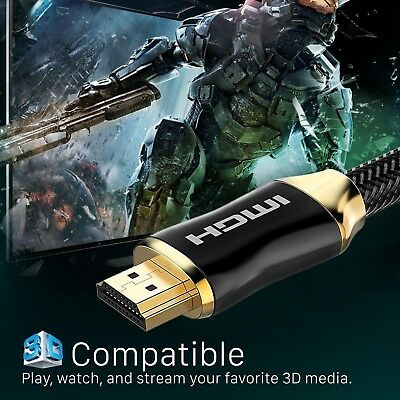 NEWEST Metal Braided HDMI Cable v2.0 Triple Shield 26AWG CL3 In-Wall 4K@60Hz 18G