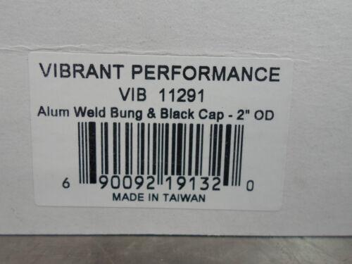 "Black Aluminum Threaded Cap 11291 Vibrant  2/"" OD Aluminum Weld BUNG"