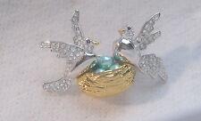 """Designer JOAN RIVERS """" Birds On A Nest """" Brooch / Pin"""