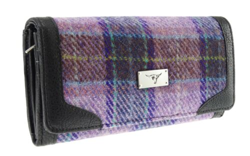 Ladies Authentic Harris Tweed Long Purse Pink and Lilac Check LB2000 COL 34