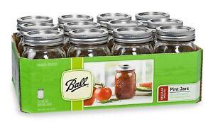 Ball-Regular-Mouth-Clear-Glass-Mason-Jars-16oz-Pint-Canning-Preserve-Lids-12-Set