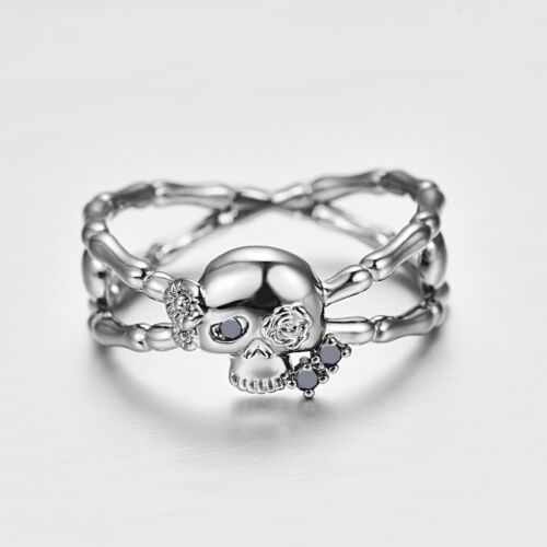 Classic Round Cut Ruby /& Noir Spinelle Gemstone Silver Skull Ring Taille 6 7 8 9