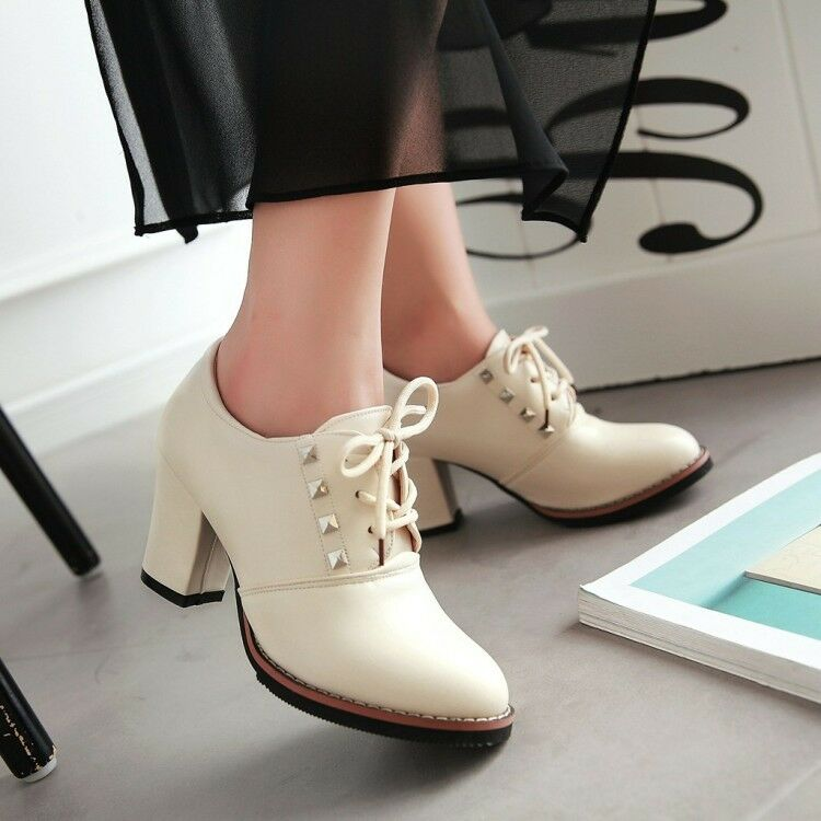 New Womens Retro Round Toe Lace Up Rivet Block High Heels Ankle Boots Plus Size