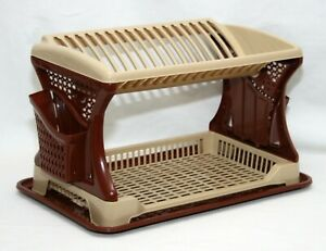 Brown-Plastic-2-Layer-Dish-Drainer-Rack-Utensil-Cutlery-Draining-Kitchen-Home