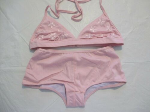 Wild Orchid Pink Embroidered Halterneck Bikini with Boy Shorts  Size 10